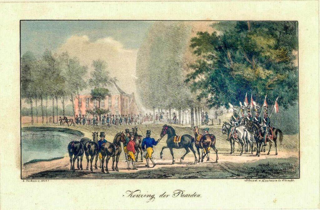 Afbeelding uit het begin van de 19e eeuw. Gezicht op de Maliesingel bij het begin van de Maliebaan en het Maliehuis tijdens het keuren van paarden voorafgaand aan een paardenrace. Bron: Utrechts Archief 38661.
