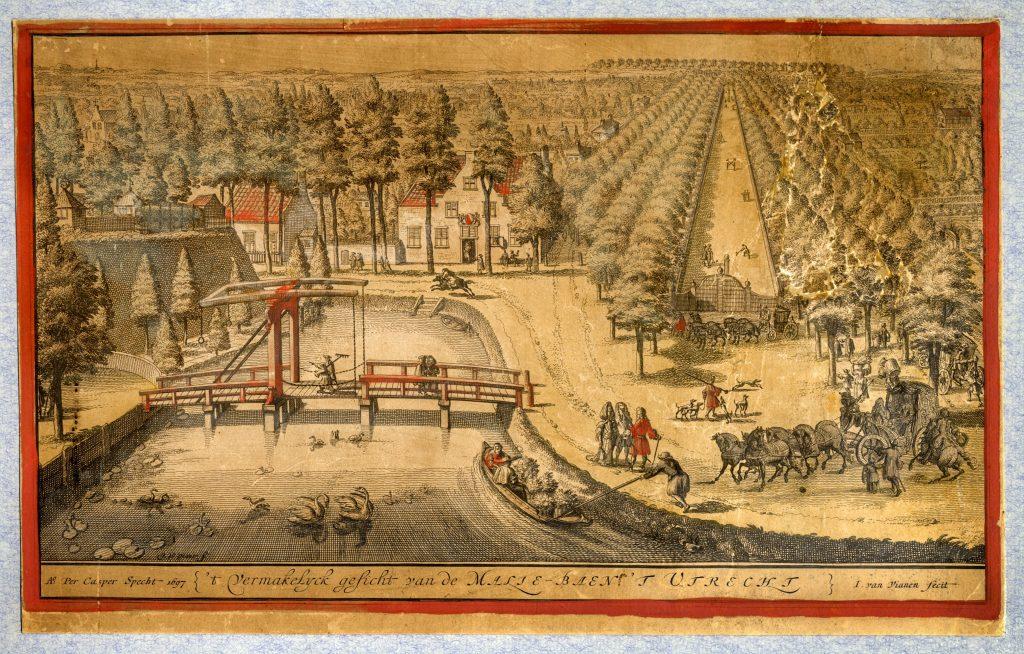 Afbeelding uit 1680. Gezicht op de Maliebaan met in het midden het Maliehuis en links het bolwerk Lepelenburg - dat later het Lepelenburgpark werd - en de Maliebrug over de stadsbuitengracht. Bron: Utrechts Archief 30274.