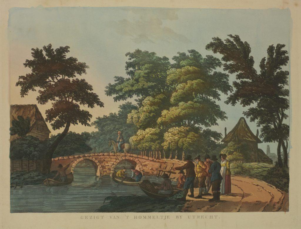 Afbeelding van rond 1810. Gezicht op de Leidsche Rijn met de Hommelbrug te Oudenrijn ter hoogte van de herberg Den Hommel.