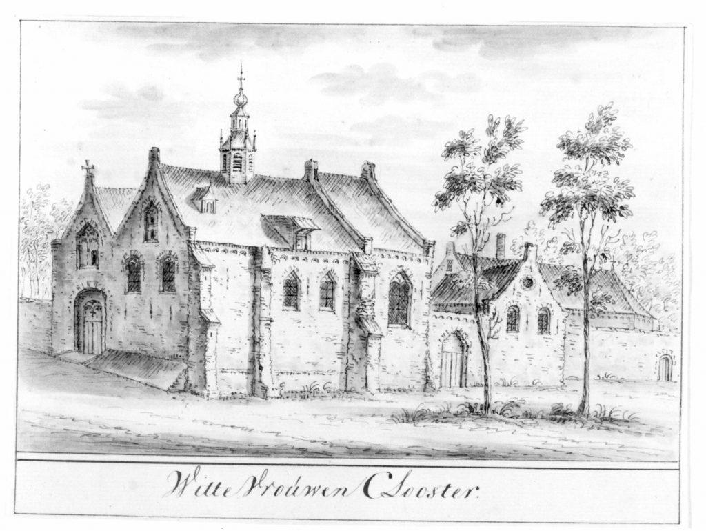 Afbeelding van rond 1580. Gezicht op de gebouwen van het Wittevrouwenklooster te Utrecht.