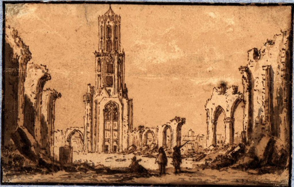 Prent uit 1674 van de ingestorte dom.