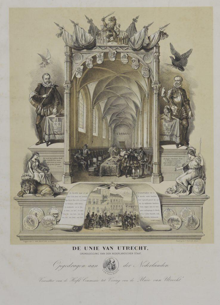 Prent uit 1579 van de ondertekening van de Unie van Utrecht op 23 januari 1579 in de kapittelzaal van de Dom.